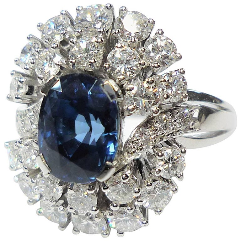 3.1 Carat Blue Sapphire Diamond Cocktail Ring