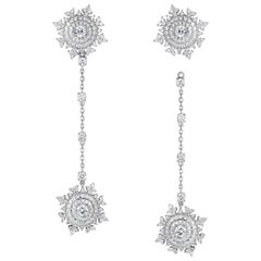 Nadine Aysoy Petite Tsarina 18 Karat White Gold and Diamond Long Earrings
