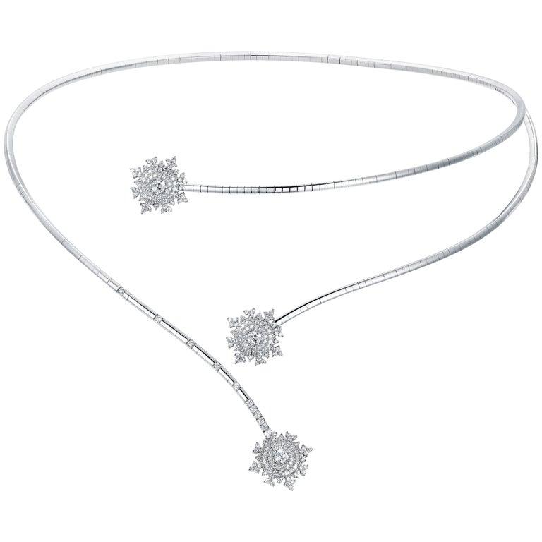 Nadine Aysoy Petite Tsarina 18 Karat White Gold and Diamond Choker Necklace