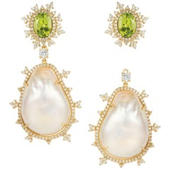 Nadine Aysoy 18 Karat White Gold, Peridot and Baroque Pearl Diamond Earrings