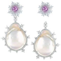 Nadine Aysoy 18 Karat Gold, Pink Sapphire and Baroque Pearl Diamond Earrings