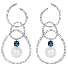 Nadine Aysoy 18 Karat Gold with Blue Topaz and White Pearl Hoop Earrings