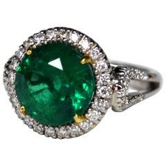 5.59 Carat Round Zambian Emerald Diamond Gold Ring