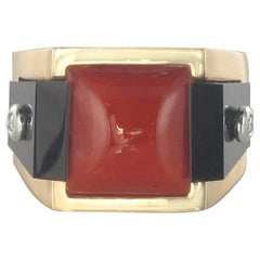 New Art deco Spirit Coral Sugar Loaf Onyx Diamond Signet Ring