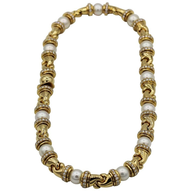 18 Karat Yellow Gold Bulgari Passo Doppio Necklace and Earrings Set