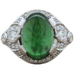 Jadeite Jade Diamond Platinum Ring