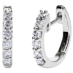 Gold Diamond Huggie Hoop Earrings
