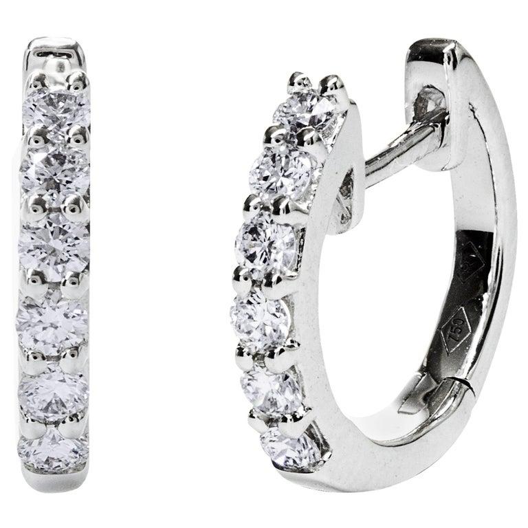Gold Diamond Huggie Hoop Earrings