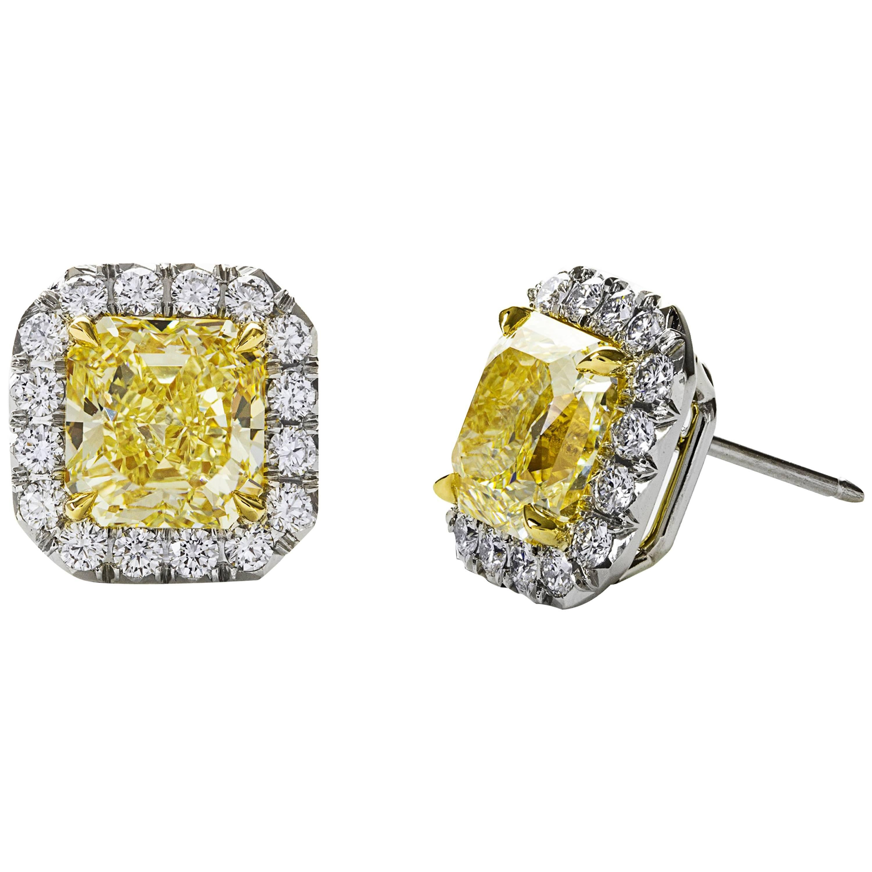 GIA Certified Fancy Yellow Diamond Halo Stud Earrings