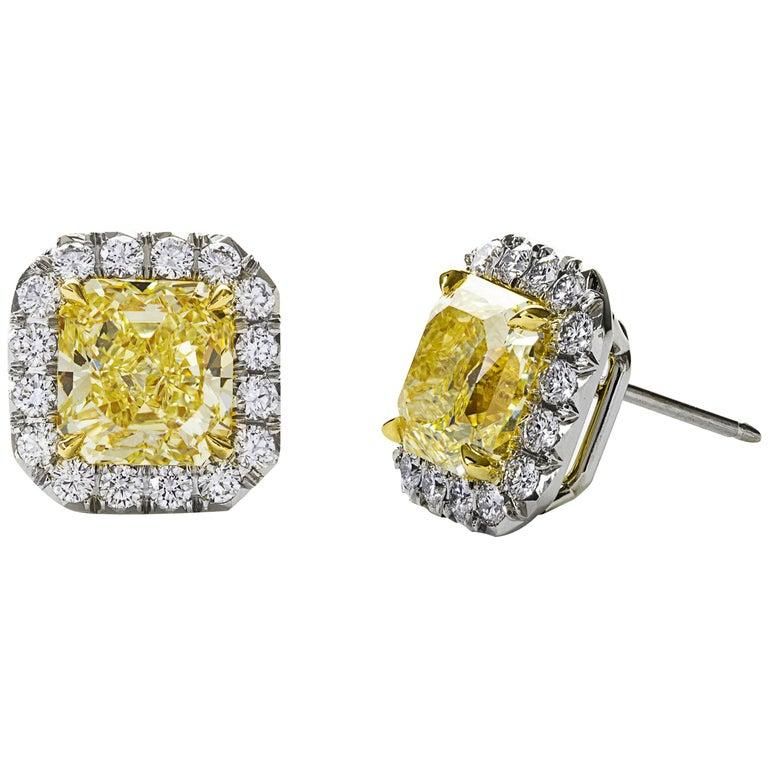 GIA Certified Fancy Yellow Diamond Gold Halo Stud Earrings For Sale