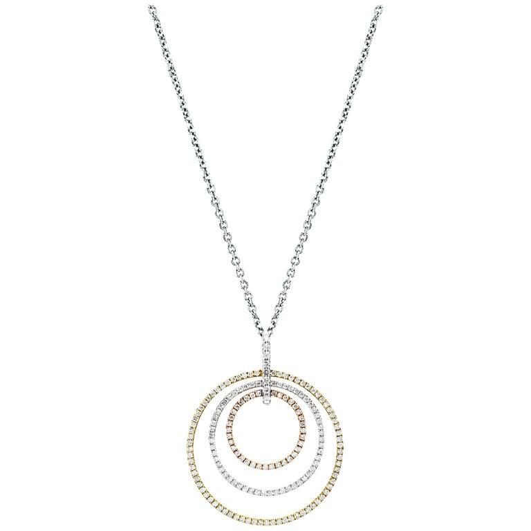 Diamond tricolor gold multi circle pendant necklace for sale at diamond tricolor gold multi circle pendant necklace for sale aloadofball Images