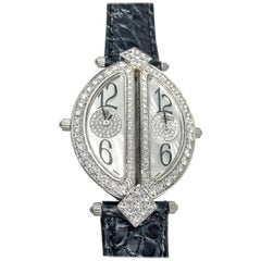Royal White Gold Diamond Double Dual Time Zone Wristwatch