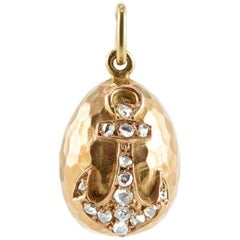 Faberge Antique Gold and Diamond Anchor Miniature Pendant Easter Egg