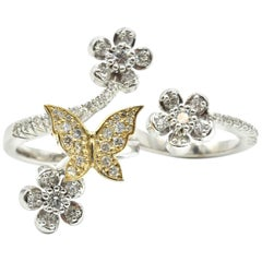 Two Finger 14K Two-Tone 2.30Ct Diamond, Floral Butterfly Designed Cocktail Ring
