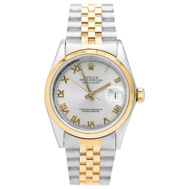 Rolex Yellow Gold Stainless Steel Datejust Smooth Bezel Automatic Wristwatch