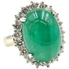 10.33 Carat Cabochon Cut Emerald Gemstone with Diamond Halo Ring
