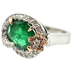 Emerald and Diamond 14k White & Rose Gold Fashion Ring