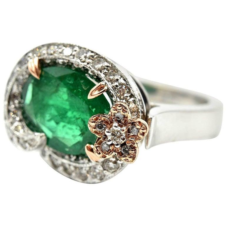 Emerald and Diamond 14k White & Rose Gold Fashion Ring
