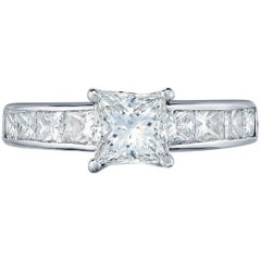 Diamond Engagement Ring with Channel Set Diamond Band in White Gold