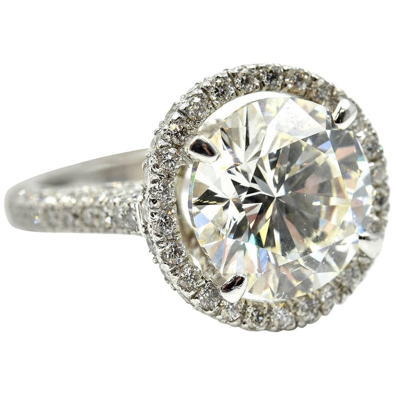 18 Karat Gold Round Brilliant 6.03ct Diamond Engagement Ring 2.50cttw Mounting