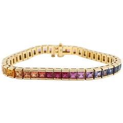 Rainbow Sapphire In-Line Tennis Bracelet 18k Yellow Gold