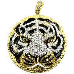 18K Yellow Gold Tiger's Head Pendant with Diamonds, Emeralds and Black Enamel