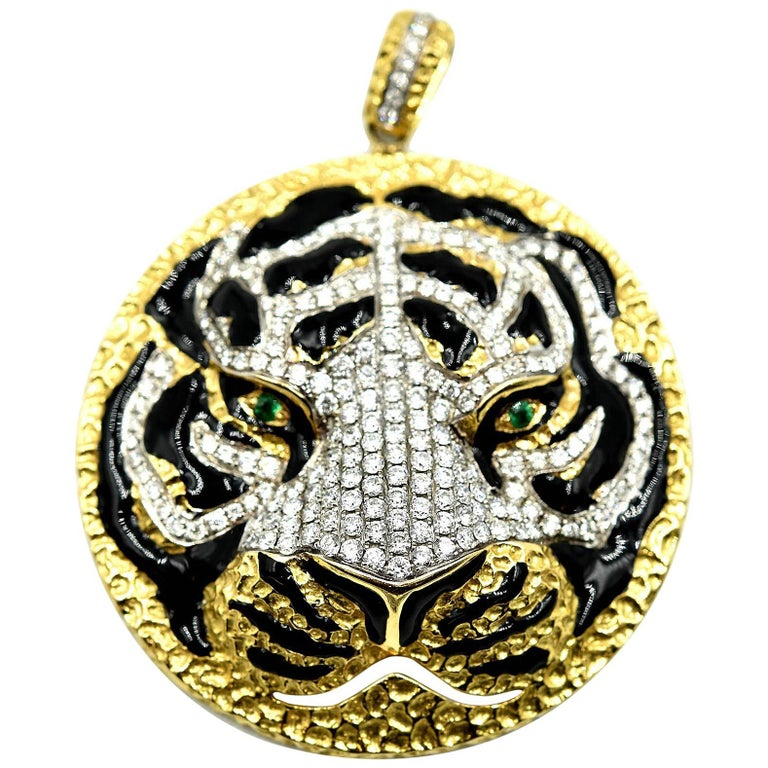 Tiger's Head Pendant with Diamonds, Emeralds and Black Enamel