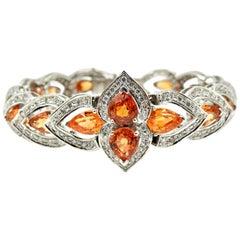 Pear-Cut Orange Spessartite and Diamond Bracelet 14k White Gold, 44.4 Grams
