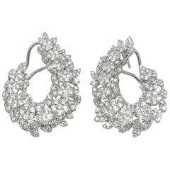 Diamond Cluster Earrings in 18 Karat White Gold with 8.65 Carat Diamonds