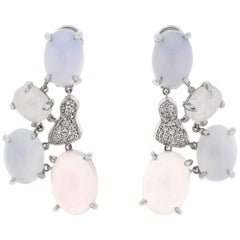 18 Karat White Gold Moonstone Pave Diamond Ladies Drop Earrings