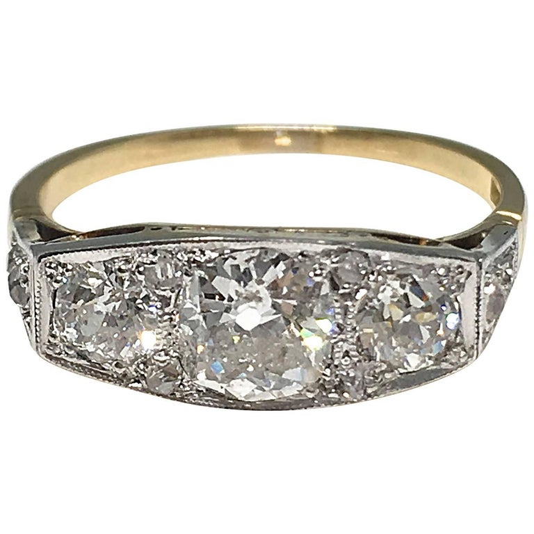 Art Deco 1930s Three-Stone Diamond Platinum and Gold Ring