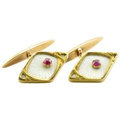 Antique Imperial Russia Art Nouveau Gold Transparent Enamel Ruby Cufflinks