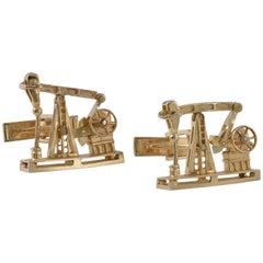 Gold Mechanical Oil Well Cufflinks