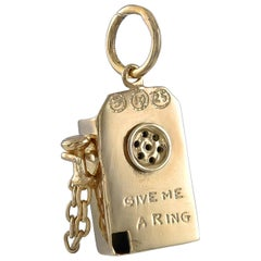 Gold Give Me a Ring Telephone Charm