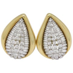 1970s René Boivin Diamond Gold Clip-On Earrings