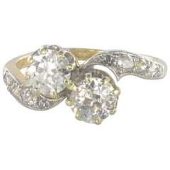 1900s Toi et Moi 1.40 Carat Diamond Yellow Gold Engagement Ring
