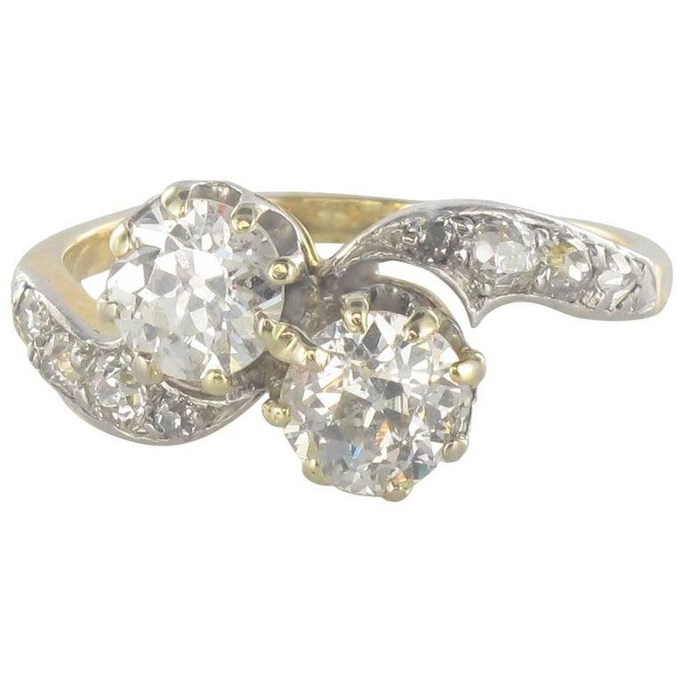 1900s Toi et Moi 1.40 Carat Diamond Yellow Gold Engagement Ring