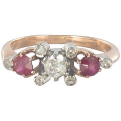 Made in France 19th Century Ruby Diamonds 18 Karat Rose Gold Garter Ring