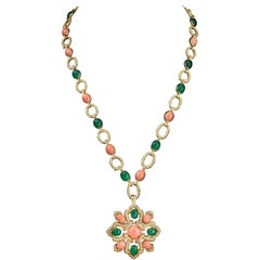 Van Cleef & Arpels Vintage Delphe Coral Agate Gold Necklace Bracelet Brooch