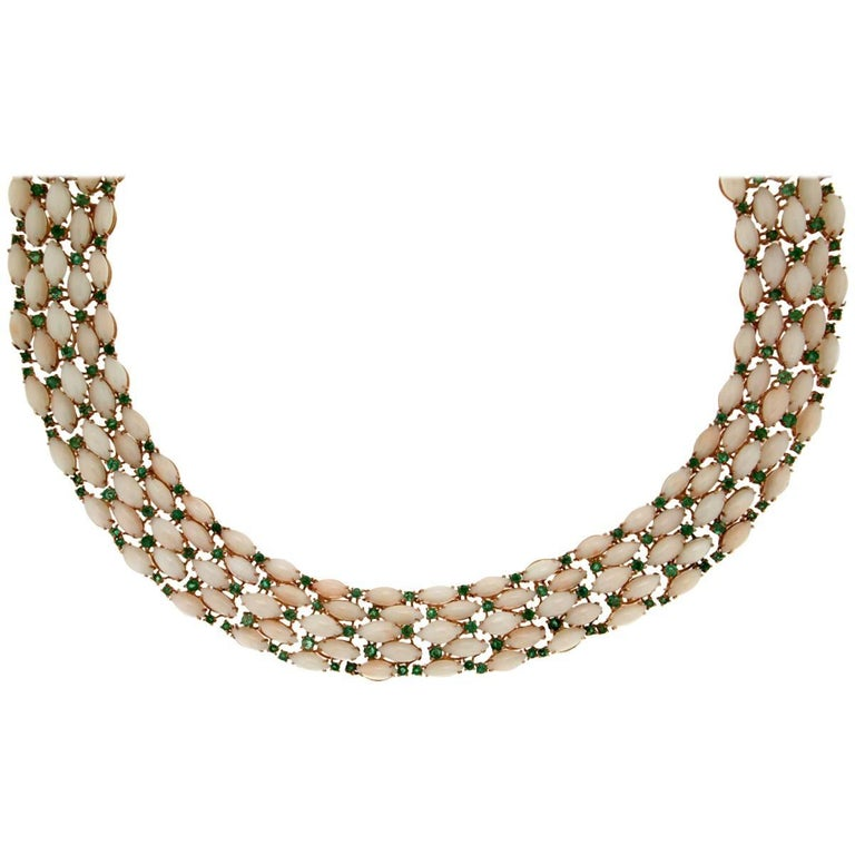 Pink Coral Yellow Gold Emeralds Choker Necklace