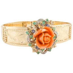 Diamonds Emeralds Sapphires and Coral Flower Rose Gold Retrò Bracelet