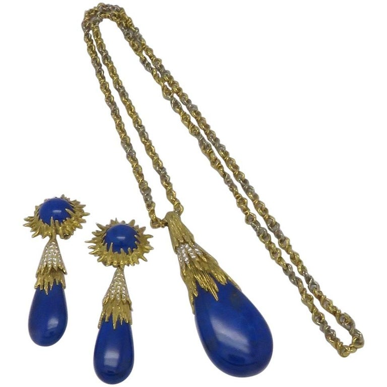Chaumet Lapis Lazuli Diamond Earring and Necklace Set