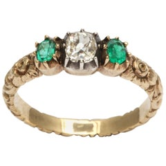 Early Victorian Diamond and Emerald Ring