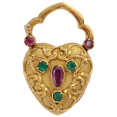 Georgian Locket in 18K Set with Rubies and Emeralds