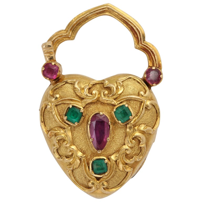 Georgian Heart Locket in 18K Set with Rubies and Emeralds