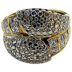 18 Karat Yellow Gold Diamond Pave and Princess Cut Cocktail Ring