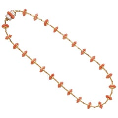 Carvin French 18 Karat Yellow Gold and Coral Necklace