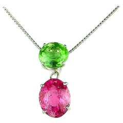 9.6 Carat Green and Pink Tourmaline Sterling Silver Pendant