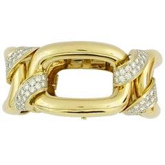 David Webb Large Gold Link Bracelet with Platinum Diamond Connections