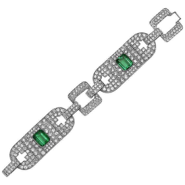 Emilio Jewelry 25.00 Carat Gem Quality Emerald Diamond Bracelet